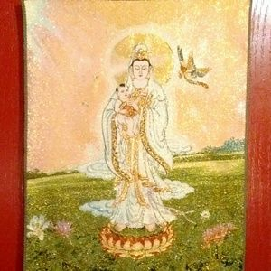 Tibetan silk tapestry (thangka) of Guan Yin
